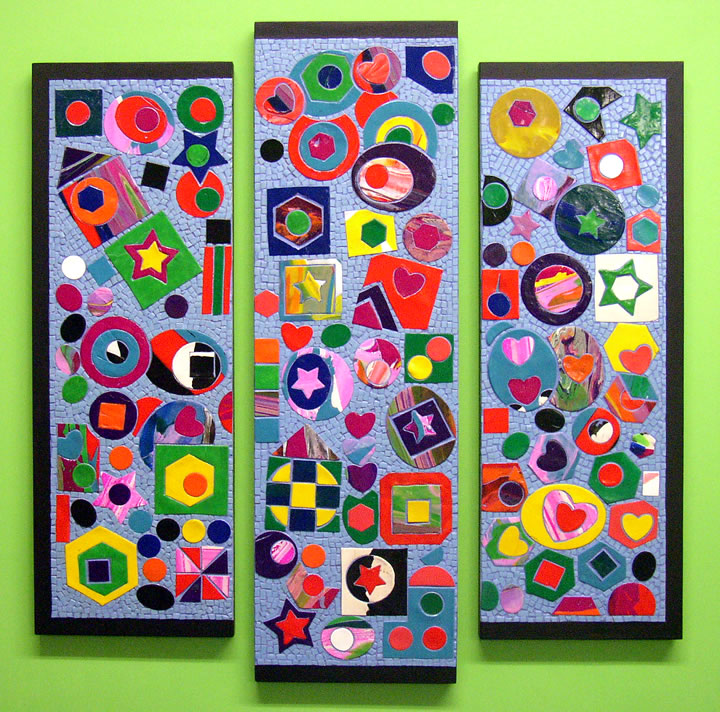 first grade triptych with geometric shapes