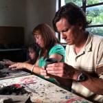 Mike, Martha and Gabbie work on their ceramics