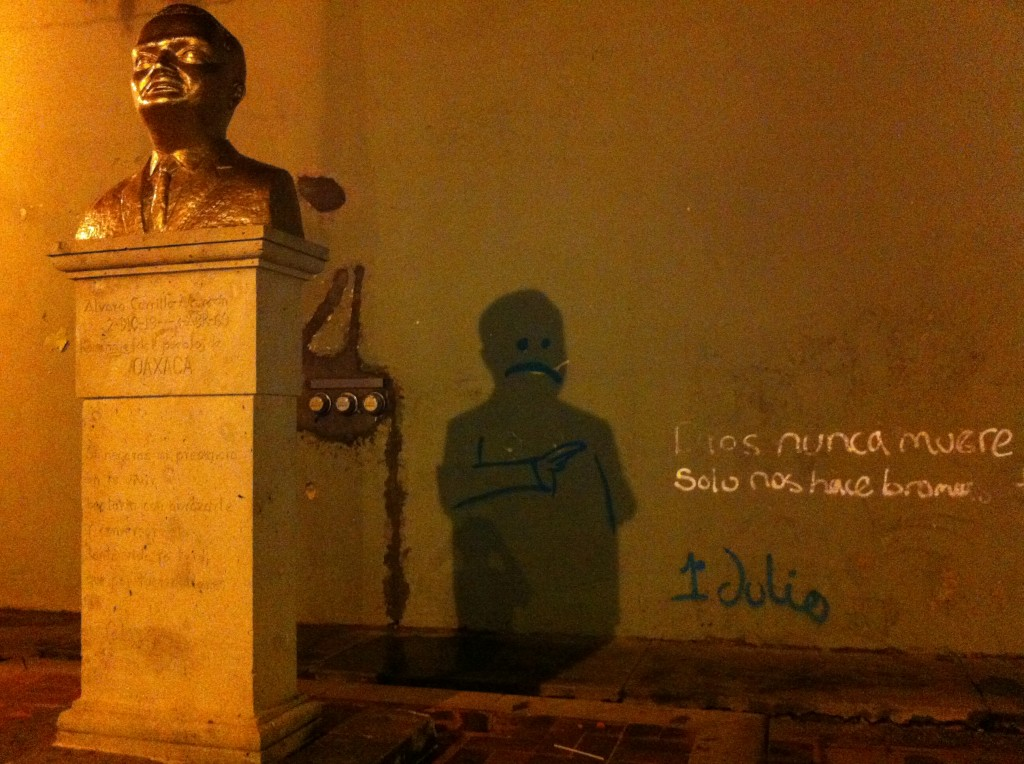 Shot of shadow graffiti with bust of Álvaro Carrillo Alarcón creating the defining shadow