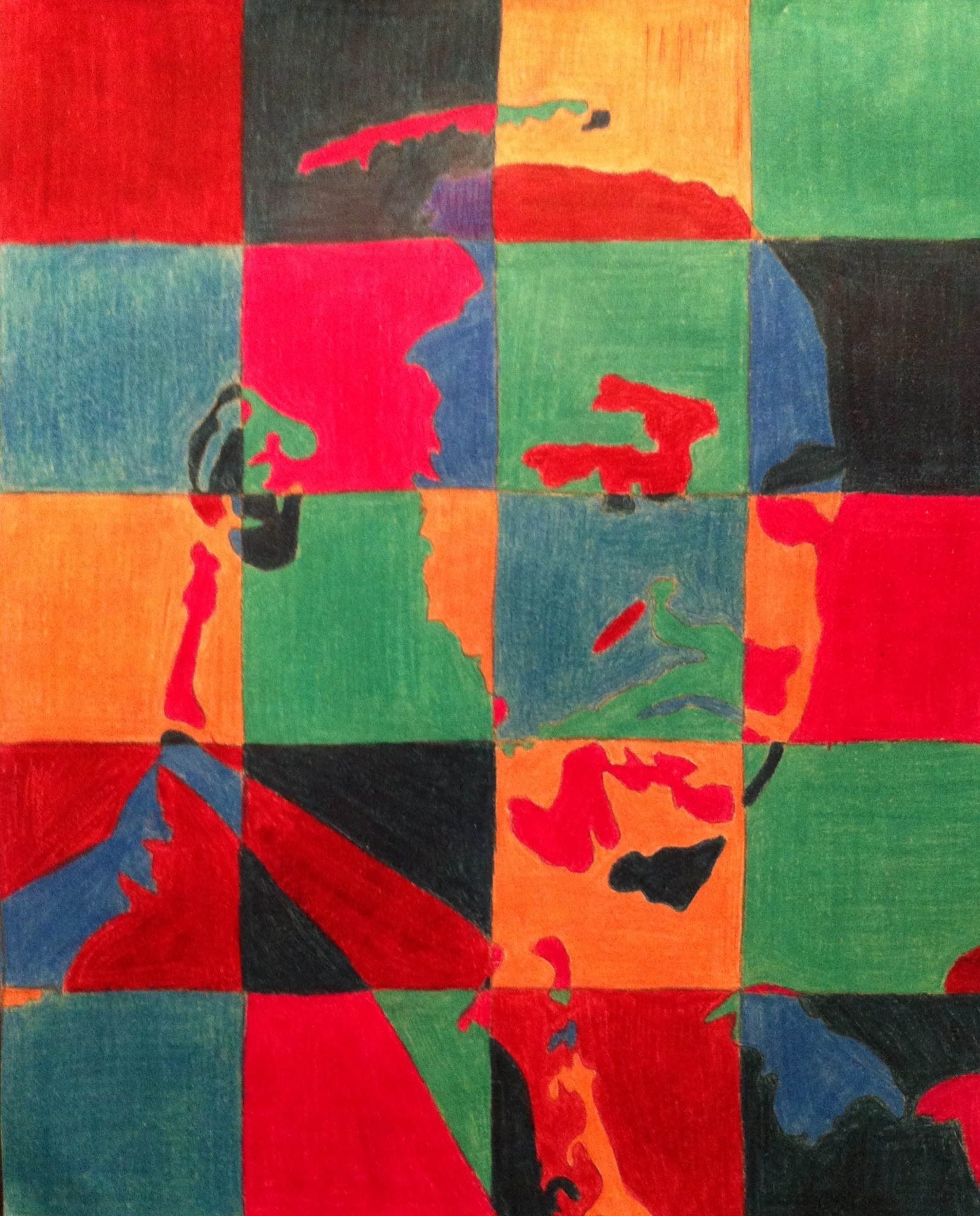 Martin Luther King colorized drawing in patchwork colors