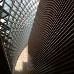 View of Kimmel Center interior with roof grid and horizontal interior wall