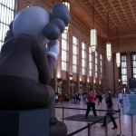 A view from the back of COMPANION art installation by KAWS at 30th Street Station