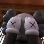 Closeup of COMPANION art installation by KAWS at 30th Street Station