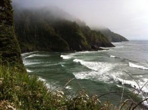 View from Heceta Head showing foggy hills and ocean waves